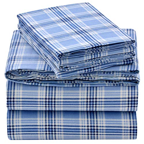 EnvioHome 160 Gram Flannel 4 Pc Sheet Set - Full, Blue Plaid