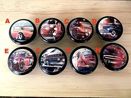 Vintage Cars Wood Furniture Knob Retro Hardware Collection 1.5