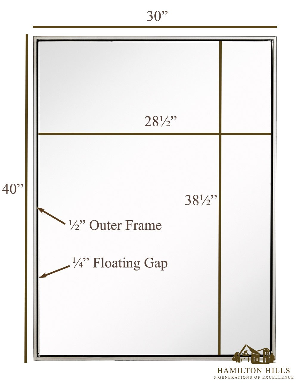 Clean Large Modern Polished Nickel Frame Wall Mirror Contemporary Premium Silver Backed Floating Glass Vanity, Bedroom, or Bathroom Mirrored Rectangle Hangs Horizontal or Vertical 30 x 40
