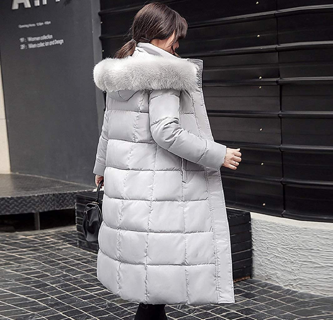 Manadlian Damen Lange Winterjacke mit Kapuze Frau Outerwear
