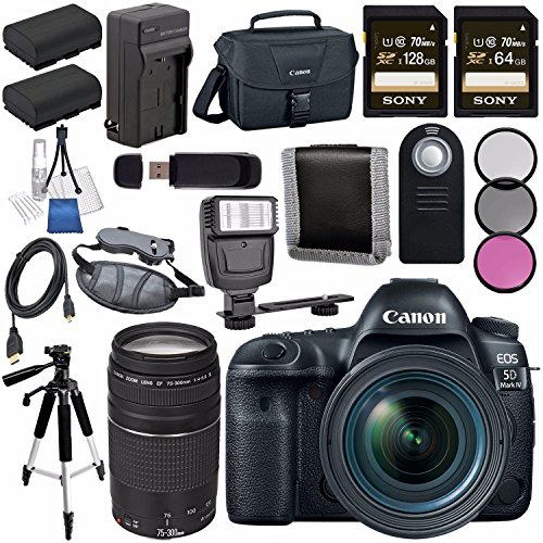 Canon EOS 5D Mark IV DSLR Camera with 24-70mm f/4L Lens 1483C018 + Canon EF 75-300mm f/4-5.6 III Telephoto Zoom Lens Bundle