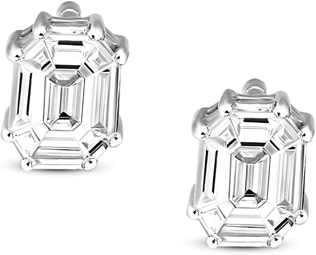 Pear Shaped Earrings 2.50 ct Solid14k White Gold Screw Back Jewelry Nice Gift