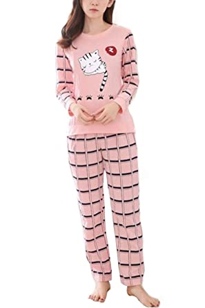 61e46fb2df Big Girls  Long Sleeve Cute Cat Print Loungewear Children Pink Striped Pant PJS  Set(