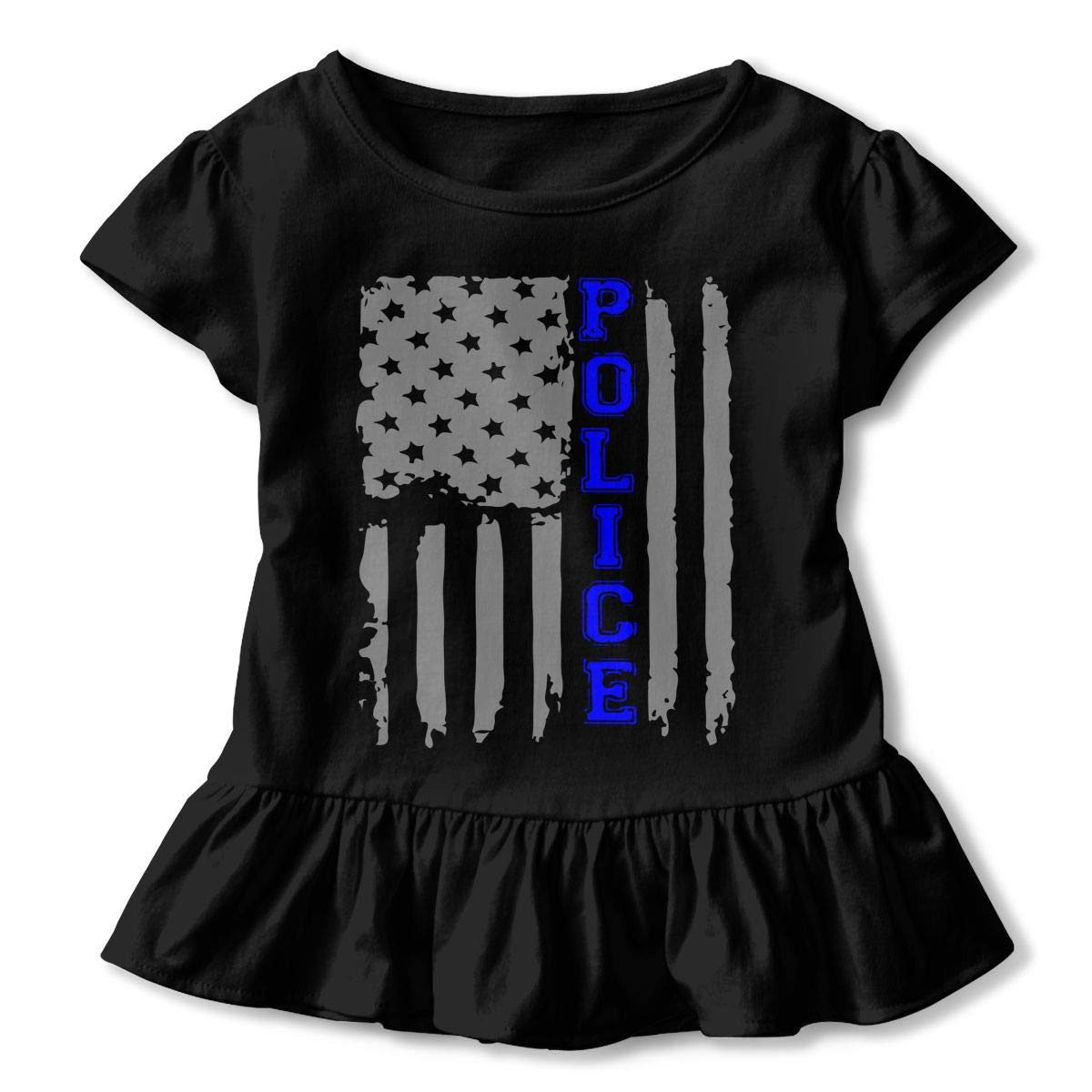 SHIRT1-KIDS Police Flag T Shirts Childrens Girls Short Sleeve Ruffles Shirt T-Shirt for 2-6T