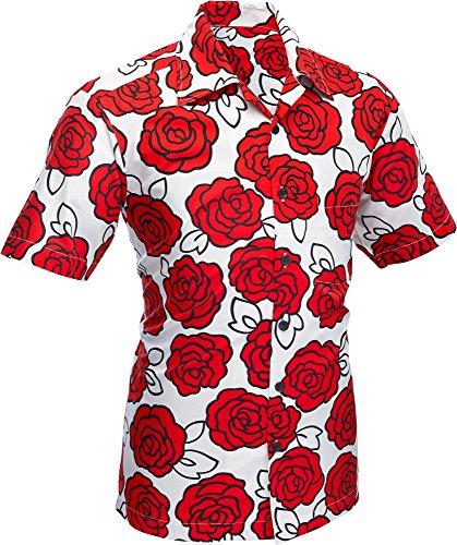 70er Jahre Kurzarm Hemd Big Rose white red, Chenaski