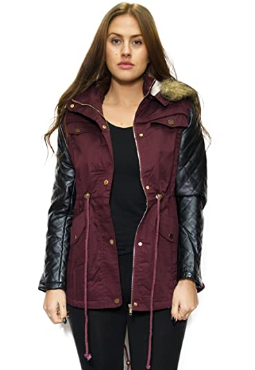 Faux Leather Sleeve Parker Jacket With Removable Fur Hood Women ...