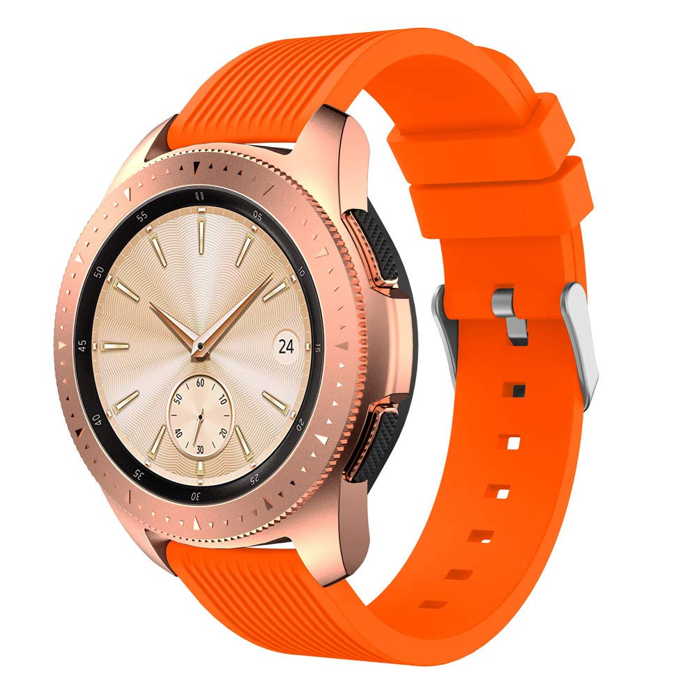 Insaneness Pure Colour Stripe Soft Silicone Watch Band Band Strap for Samsung Galaxy Watch (Orange, 42mm)