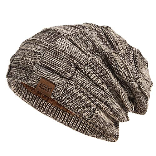 REDESS Beanie Hat for Men and Women Winter Warm Hats Knit Slouchy Thick Skull Cap(Brown)
