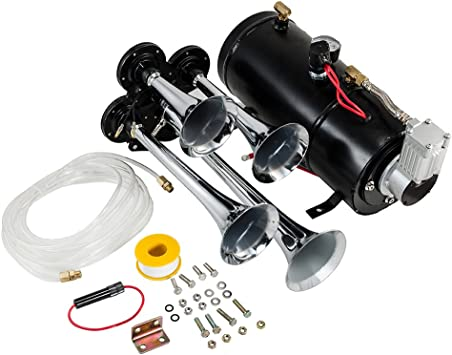 Hex Autoparts Quad 4 Trumpet 149DB Train Air Horn Kit Black with 3 Gallon Tank and 200 PSI Compressor Full Complete Onboard System Kit for Car Truck Boat