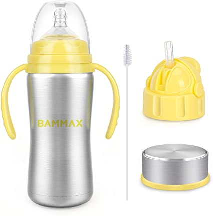 3 in 1 Baby Water Bottle Vacuum Insulated Thermal Sippy Cup with Handle