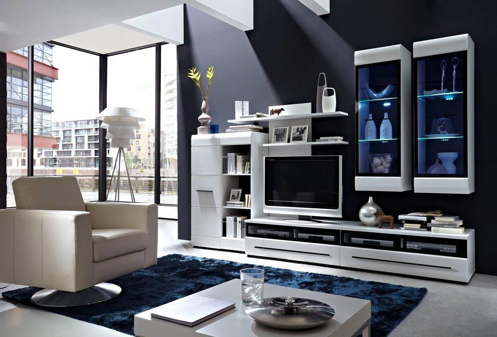 Wohnwand in weiß Hochglanz inkl. LED-Beleuchtung mit Stauraumelement ...