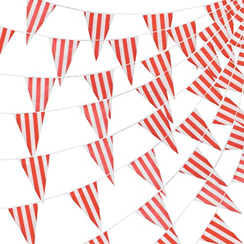 Pudgy Pedro's Party Supplies 100 Foot Pennant Banner, 48 Red & White Striped Weatherproof Flags, Circus & Carnival - Versatile Party Décor ()