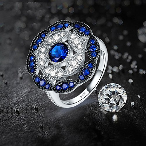 Jrose 925 Sterling Silver Vintage Created Blue Sapphire Cluster Cocktail Ring for Women by jrose (Image #5)