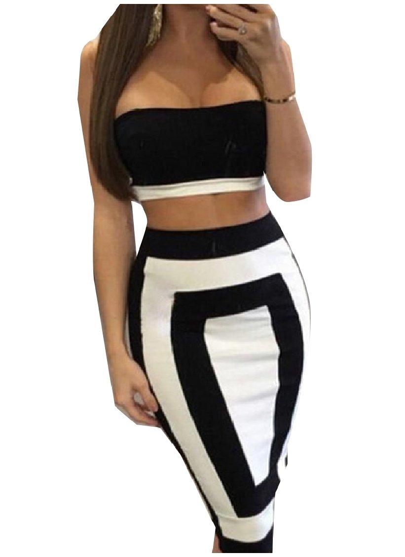MLG Women Classic Patchwork Strapless Crop Top Bodycon Midi Dress White XS