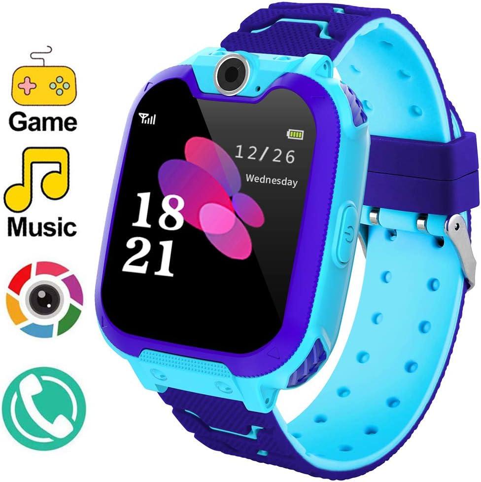 Relojes de teléfonos inteligentes para niños Reloj de juegos con cámara Pantalla táctil Reloj de pulsera digital para niños de 5-12 años Niños Juguetes educativos electrónicos (Azul)