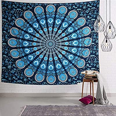 Cootime Blue Mandala Tapestry, Hippie Bohemian Flower Psychedelic Tapestry Wall Hanging Indian Dorm Decor for Living Room Bedroom 59.1x51 Inches