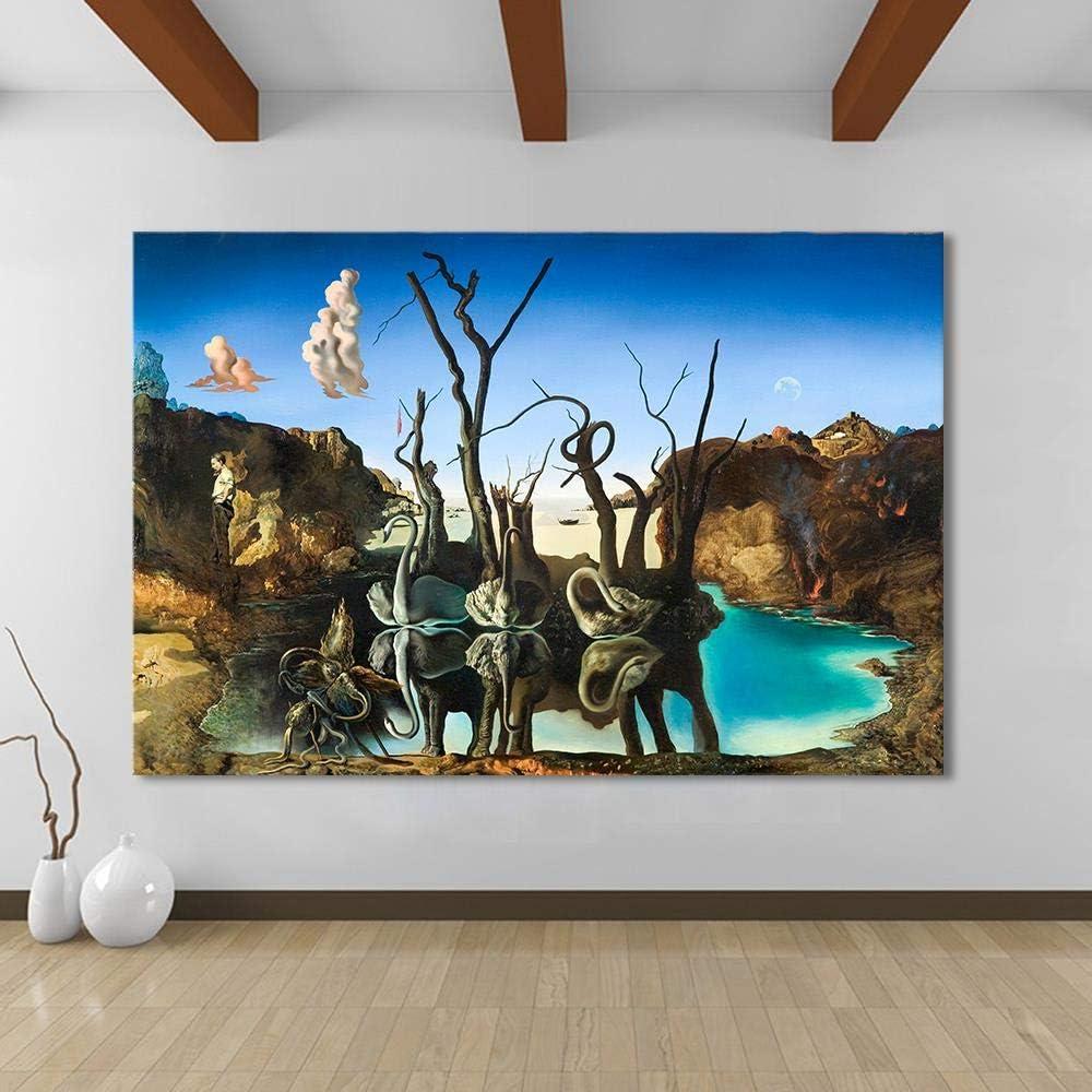 Decoraci Escultura Estatua Artesan Pintura Moderna De La Lona Arte De La Pared Salvador Dali Pintura Al Óleo Cisnes Reflejando Elefantes Cuadros De La Pared Para La Sala De Estar Decoración Del Hogar