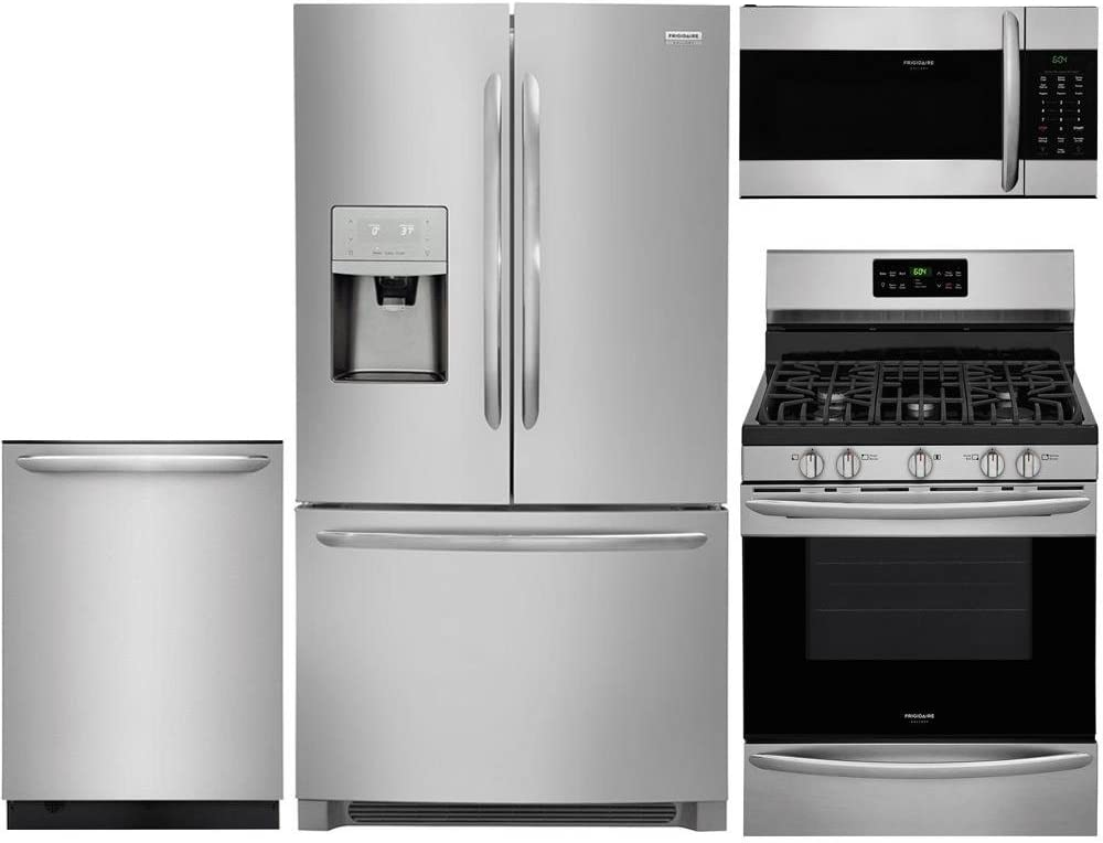 "Frigidaire 4-Piece Stainless Steel Kitchen Package with FGHD2368TF 36"" French Door Refrigerator, FGGF3036TF 30"" Freestanding Gas Range, FGID2476SF 24"" Fully Integrated Dishwasher and FGMV176NTF 30"" Ov"