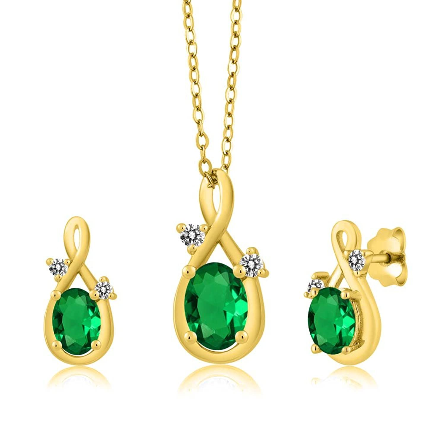 1.50 Ct Oval Green Simulated Emerald 14K Yellow Gold Pendant Earrings Set