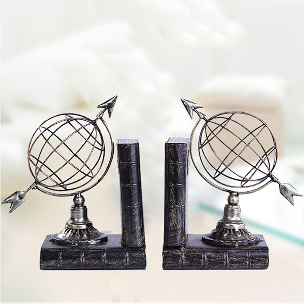 LPY-Set of 2 Bookends Metal Creative Globe Style Handicrafts, Book Ends for Office or Study Room Home Shelf Decorative