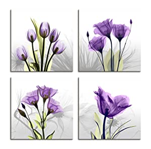 Moyedecor Art - 4 Panel Elegant Tulip Flower Canvas Print Wall Art Painting For Living Room Decor And Modern Home Decorations (Four 12X12in, Purple flower prints framed)