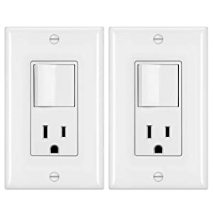 [2 Pack] BESTTEN Combination Wall Light Switch and Decor Outlet, Single Pole Rocker Switch, 15A/120V, Decorative Receptacle, 15A/125V, Combo Style, UL Listed, White