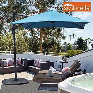 Sundale Outdoor 8.2ft Square Sunbrella Fabric Offset Hanging Umbrella Market Patio Umbrella Aluminum Cantilever Pole with Crank Lift, Corss Frame, 360 Rotation, for Garden, Deck, Backyard Sky Blue