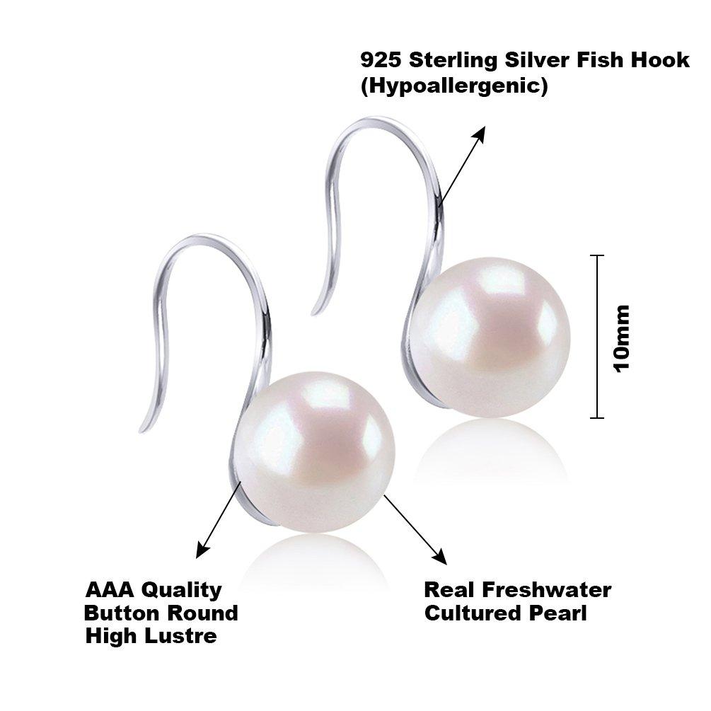 925 Silber Süßwasser-Zuchtperle Ohrstecker Weiße Perlen Ohrringe
