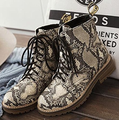IDIFU Women's Stylish Snake Print Low Chunky Heels Lace Up Short Martin Ankle Boots - stylishcombatboots.com