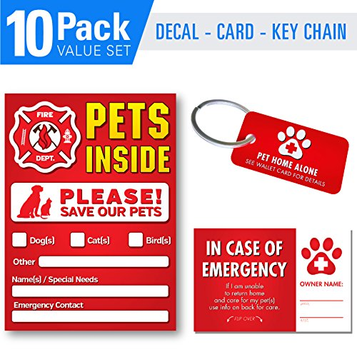 Pet Alert Stickers - FIRE Safety Alert and Rescue (10 Pack) - 6 Mil - UV Laminated - 3 Key Tags - 3 Cards Save Your Pets encase of Emergency or Danger Pets in Home for Windows, Doors sign4