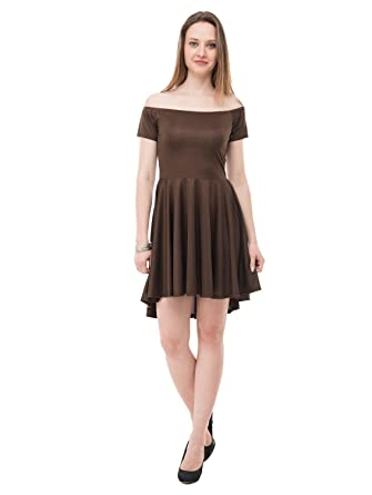 Karmic Vision Women s Brown Fit   Flare Mini Dress  Amazon.in  Clothing    Accessories 1a306b543aa9