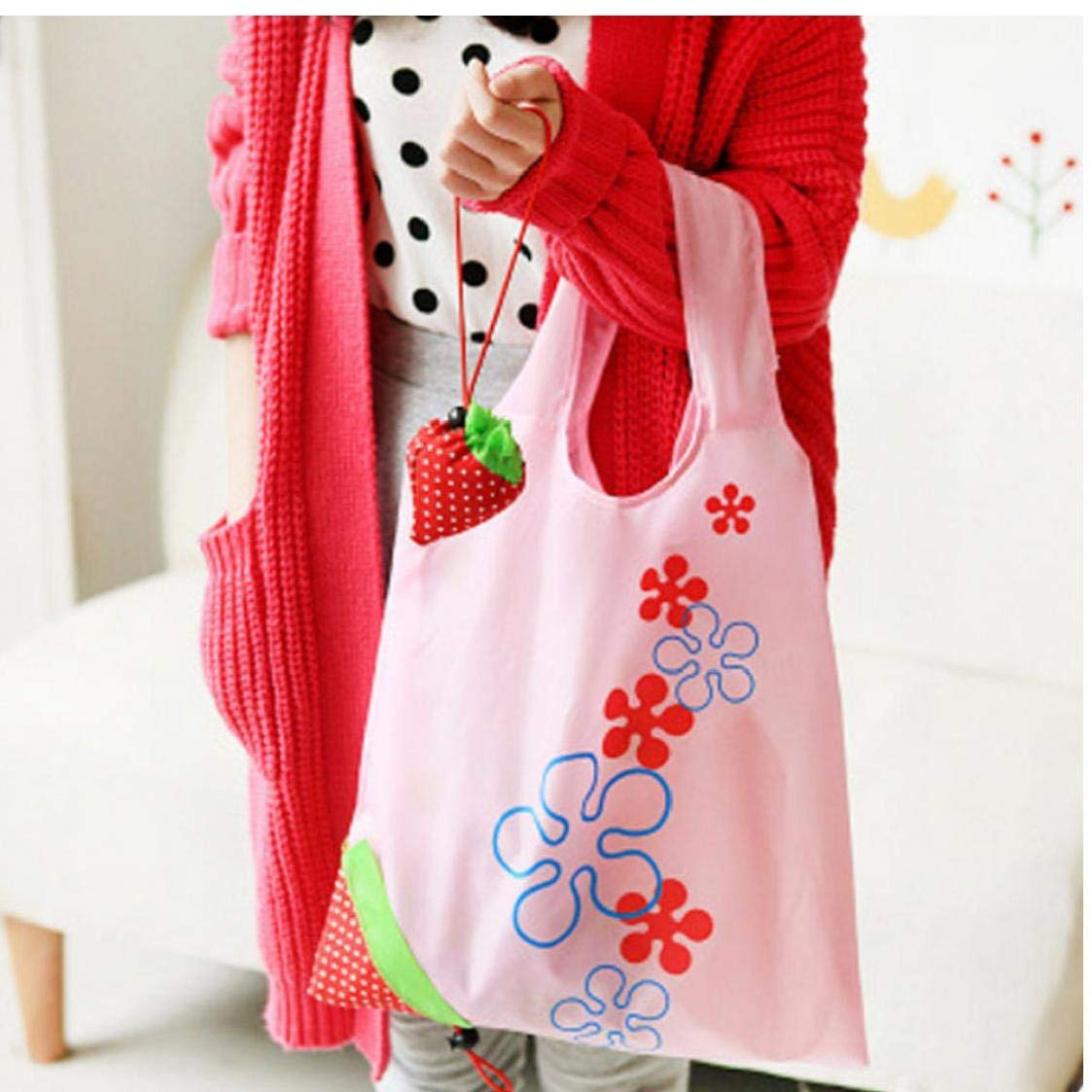 3pcs Creative Drawstring Bag Cartoon Strawberry Shaped Shopping Bag Reusable Grocery Shopping Tote Bags Folding Pouch Storage Bags
