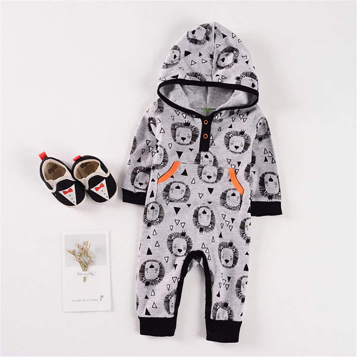 VILOVE Baby Boys Girls Lion Graphic Hoodie Jumpsuit Long Sleeve Button Down Romper Outfit Bodysuit with Pockets