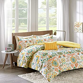 4 Piece Girls Summer Time Flower Theme Comforter Twin XL Set, Beautiful Bright All Over Geometric Floral Medallion Bedding, Girly Garden Inspired Flowers Themed Pattern, Orange Yellow Blue White