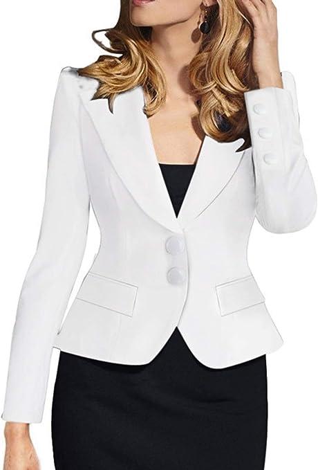 con bolsillos Blazer para negocios oficina Dihope Chaqueta para mujer manga larga estilo casual