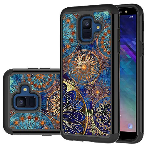 Samsung Galaxy A6 Case, LEEGU [Shock Absorption] Dual Layer Heavy Duty Protective Silicone Plastic Cover Rugged Case for Samsung Galaxy A6 2018 - Gear Wheel