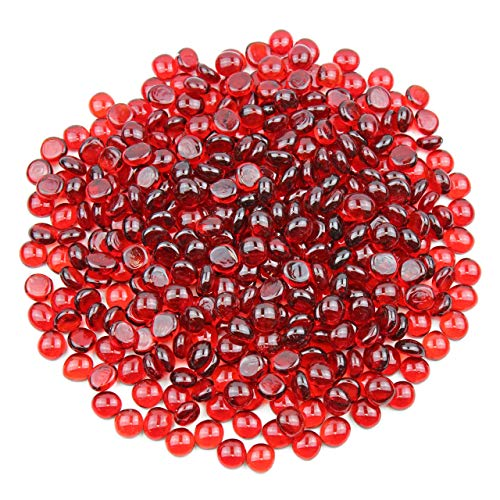 Gemnique Mini Glass Gems - Red (48 oz.) (Red Flat Marbles)