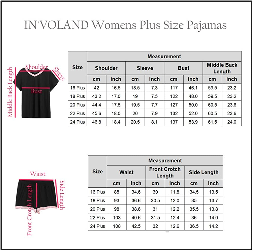 INVOLAND Womens Plus Size Sleepwear V-Neck Short Sleeve Pajama Set Nightwear Short Sets Loungewear for Women