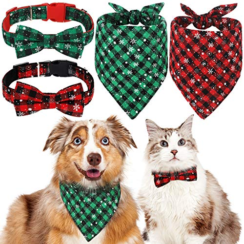 Frienda 4 Pieces Dog Accessory Set Including 2 Pieces Plaid Snowflake Dog Bandana Scarf and 2 Pieces Adjustable Bow Tie Dog Collars for Pets (Collar Pieces Dog)