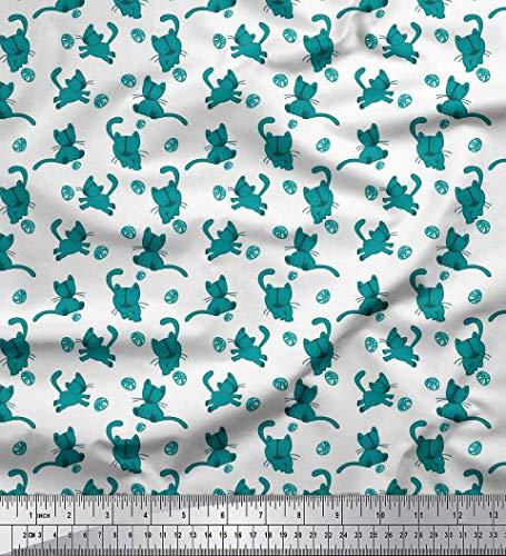 Soimoi Green Crepe Silk Fabric Wool & Cat Animal Fabric Prints by Yard 42 Inch Wide
