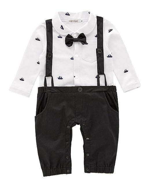 3a2e981c9 stylesilove Sailor Boat Print Faux Suspender Formal Wear Baby Boy Romper  (70/3-