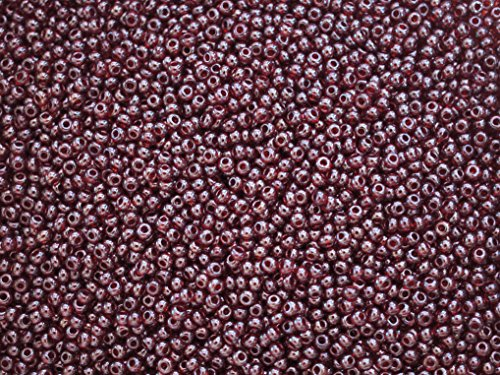 (20 Grams 10/0 Preciosa Czech Round Glass Seed Beads, Garnet Transparent White)