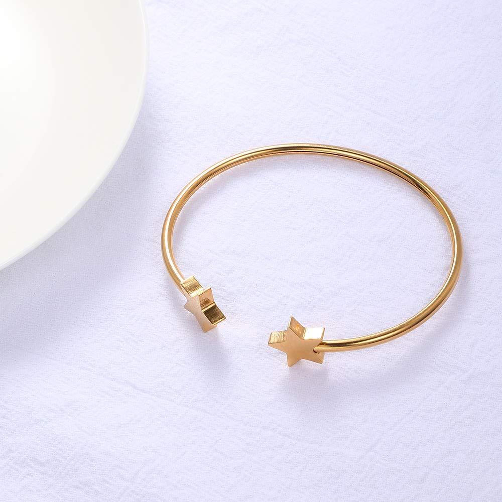 MANZHEN Cute Star Bracelet Soft Swingable Titanium Steel Bangle for Women Girls Gift
