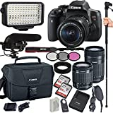 Canon EOS Rebel T6i 24.2 MP Digital SLR Camera with 18-55mm and 55-250mm Lenses , Filters, Lens Hood, Monopod, 128GB Memory, Led Video Light, Microphone, Canon Case, Extra Charger