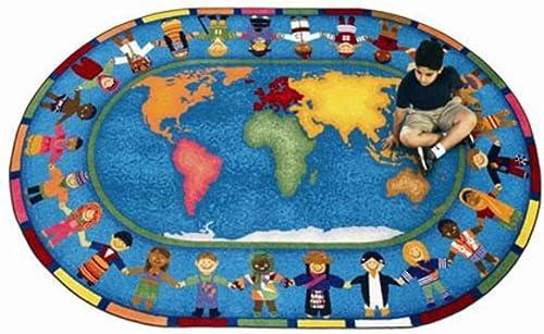 Joy Carpets Educational Hands Around The World Kids Rug Rug Size 5 4 x 7 8