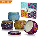 Yinuo Mirror Scented Candles Gift Sets, 4 Pack(4 * 4.4oz) Soy Wax Natural Vegan Candles with Travel Tin, Bath Yoga Aromatherapy, for Wife, Mother's Day, Anniversary