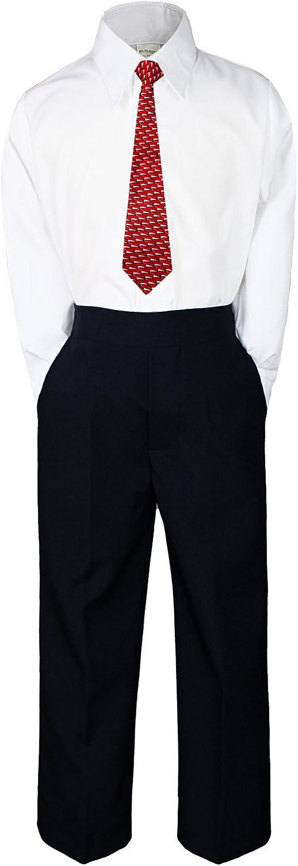 MILLTEX 3pc New Born Baby Boy Teen Formal Dress Black Pants and Shirt Necktie Sm-20