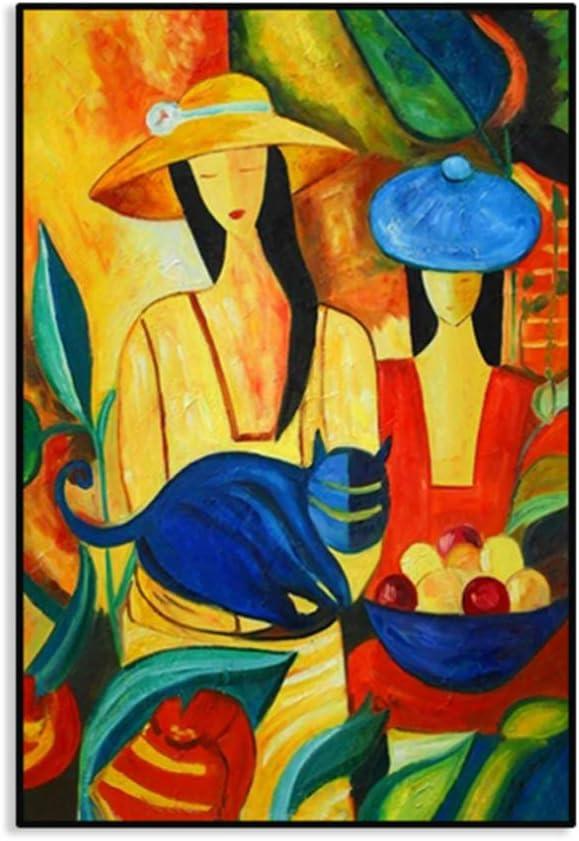 NIEMENGZHEN Imprima en Lienzo Picasso Famoso y Moderno Lienzo Pintado Cuadros de Pared para decoración del hogar Pintura Figura Trabajo 27.5