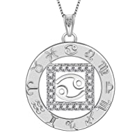 Zodiac Sign Necklace 925 Sterling Silver 12 Constellation Pendant & Rings Horoscope...