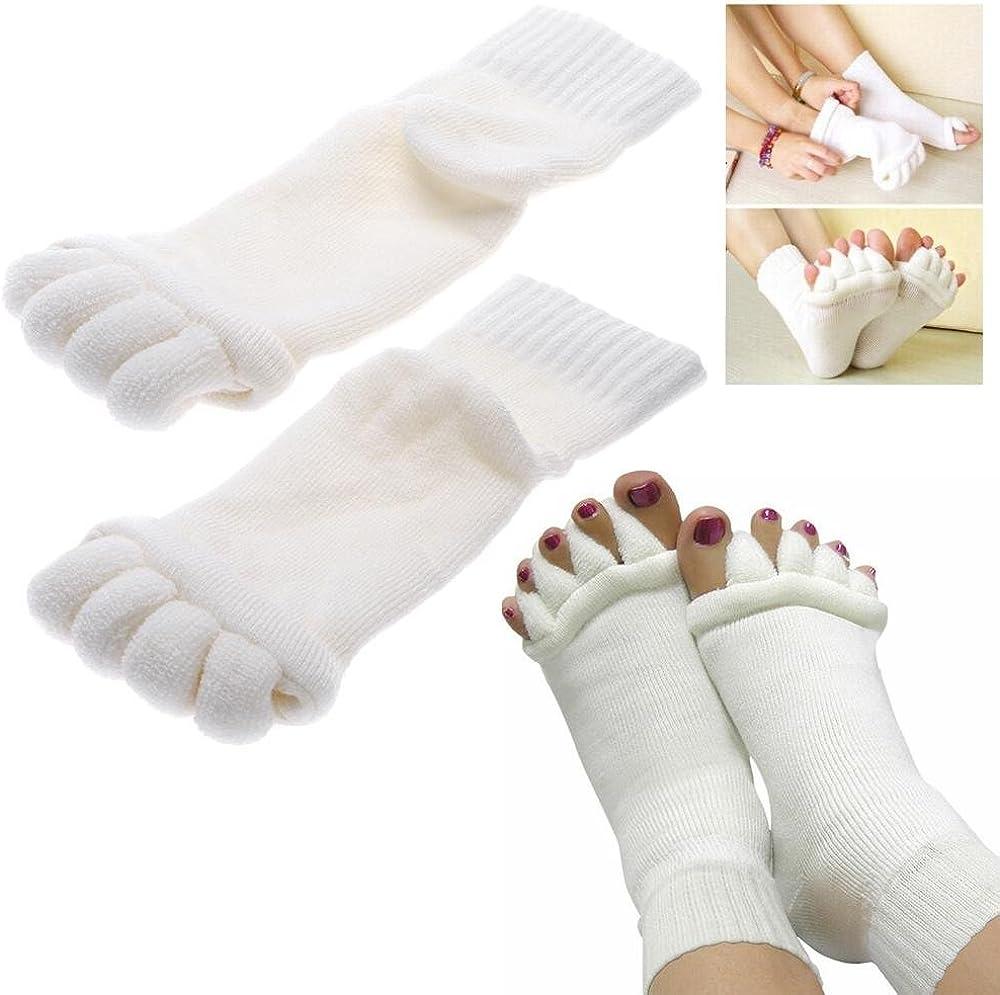 Minjie Men Women Comfort Foot Toes Alignment Socks Stretch Tendon Relieve Pain Feet